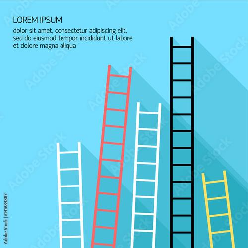 Fototapeta Step ladder Vector illustration Five multicolored step ladders standing at a blu