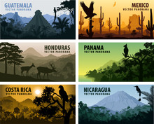Vector Set Of Panorams Countri...