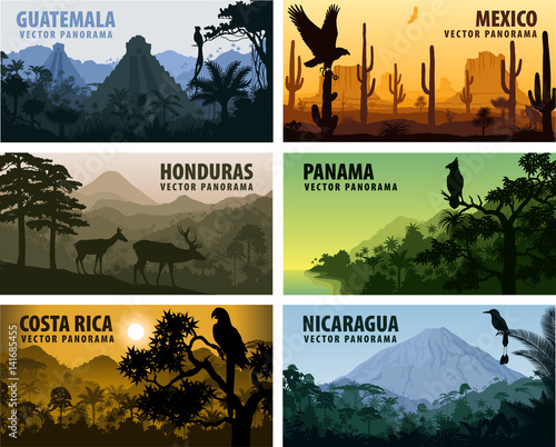 Fototapeta vector set of panorams countries Central America - Guatemala, Mexico, Honduras, Nicaragua, Panama, Costa Rica obraz