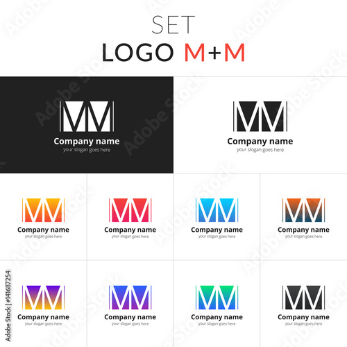 M And M Letter Logo Set Vector Design Abstract Business Logo On