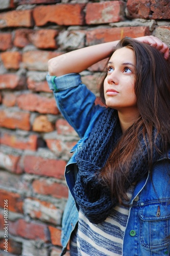 Portrait Of Young Slim Beautiful Long Haired Brunette Girl