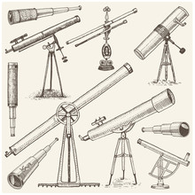Set Of Astronomical Instruments, Telescopes Oculars And Binoculars, Quadrant, Sextant Engraved In Vintage Hand Drawn Or Wood Cut Style , Old Sketch Glasses
