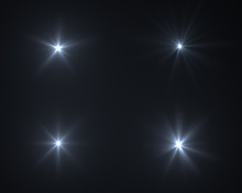 Realistic Digital Lens Flare In Black Background