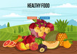 Healthy food poster with rural landscape vector illustration. Fresh pomegranate, plum, pineapple, apricot in glass bowl on wooden table. Natural fruit growing, healthy nutrition, organic farming