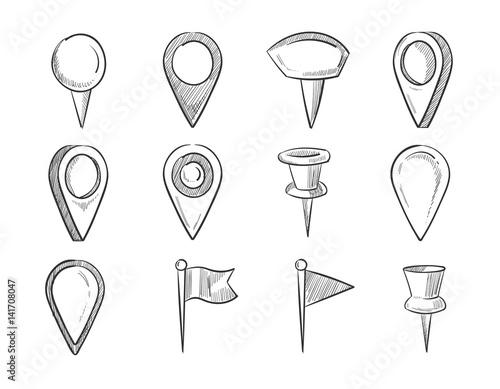 Fotografía  Hand drawn map pointers, doodle navigation pins vector set