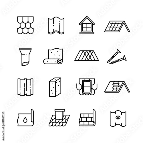 Fényképezés  Roof, housetop construction materials, waterproofing thin vector icons