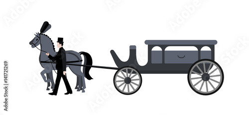 Photo  Horse hearse. Funeral.