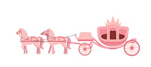 Pink Carriage Drawn By Four Ho...