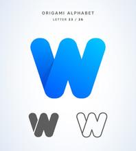 Vector Origami Alphabet. Letter W Logo Template