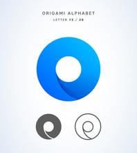Vector Origami Alphabet. Letter O Logo Template