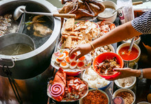 Colored Thai Food In Floating Market, Food Seller In Thailand, Typical Thai Food Background