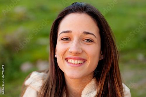 Fototapety, obrazy: Smiling teen girl outside