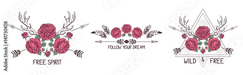Poster Boho Style Set of hand drawn boho style design with rose flower, arrow and feathers.