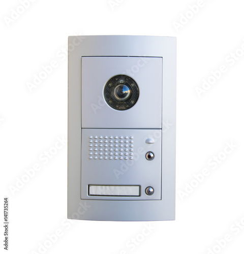 Video intercom equipment on white background, clipping path included Tapéta, Fotótapéta