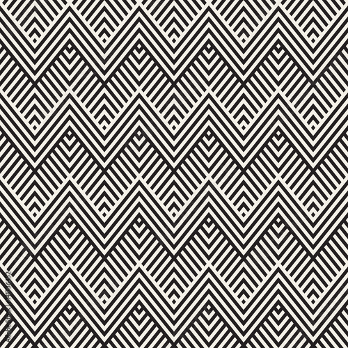 In de dag Boho Stijl Abstract ZigZag Parallel Stripes. Vector Seamless Pattern. Repeating Monochrome Background