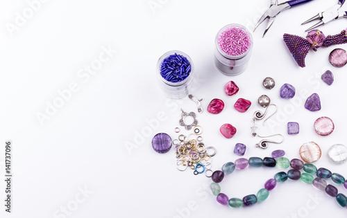 Fotografía  Glass seed and bugle beads, stone beads,metal beads