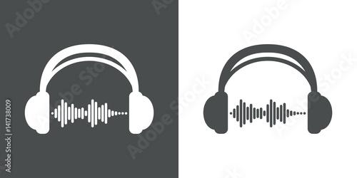 Valokuva Icono plano auriculares con ondas sonido gris y blanco