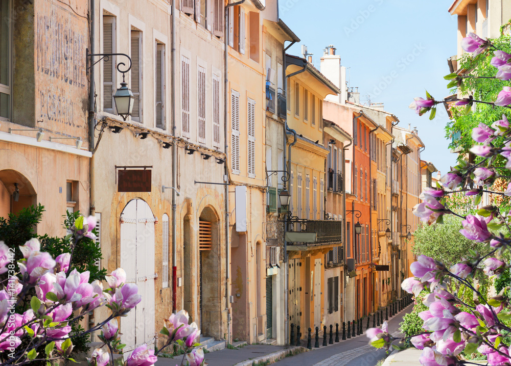 old town street of Aix en Provence at spring, France