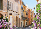 Fototapeta Uliczki - old town street of Aix en Provence at spring, France
