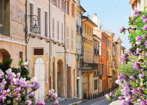 old town street of Aix en Provence at spring, France Canvas Print