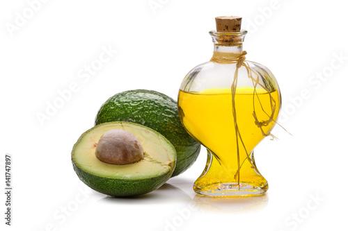 Fototapeta Avocado oil isolated on white backgroundl obraz