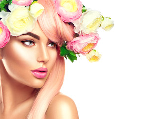FototapetaBlooming flowers wreath on woman's head. Flowers hairstyle