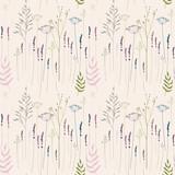 Kwiatowy wektor wzór z ręcznie rysowane dzikie kwiaty, zioła i trawy. W delikatne linie sylwetki kopru włoskiego, koperek, lawenda i inne rośliny w pastelowych kolorach na beżowym tle - 141752087