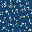 Flower seamless pattern vector over dark blue background. Greeting easter card