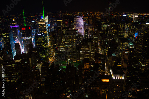 Manhattan, Midtown Seen From the Empire State Building at Night, USA