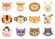 Cute animal heads for baby and children design