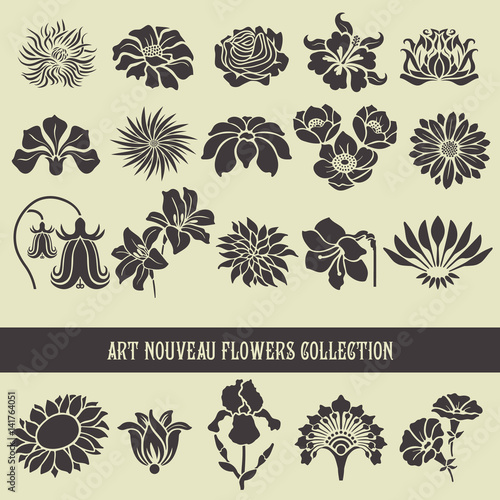 Set of floral elements and silhouettes of flowers, ornamental patterns for using in invitation cards, ornaments, wedding invitations, etc. Art Nouveau style Wall mural
