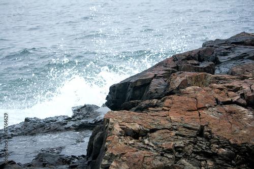 Fotografie, Obraz  Ocean on Stormy Day on Rocky Coast of Maine