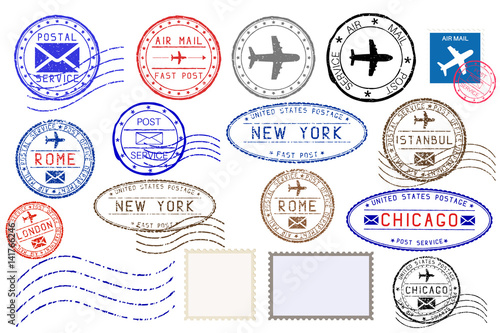 Collection of colored postal stamps from different cities Wallpaper Mural