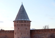 Russia Smolensk Kremlin Part Of The Old Fortress Wall Thunder Tower With A Wooden Roof In The Shape Of A Cone