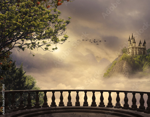 Fototapety Fantasy fantasy-castle-and-balcony-in-the-mountains-3d-rendering