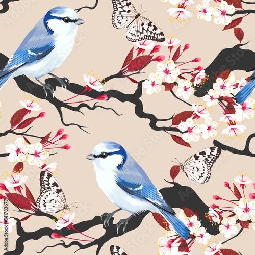 ptak-na-galezi-wisni-bez-szwu