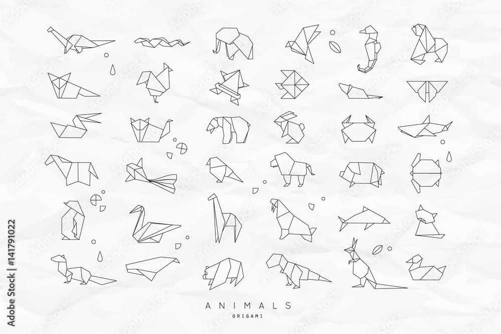 Fototapeta Animals flat origami set crumpled