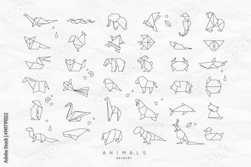 Obraz na plátně Animals flat origami set crumpled