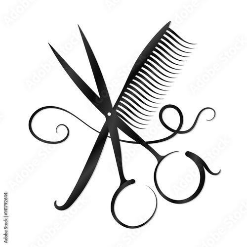 Fototapeta Nożyczki, grzebień i włosy sylwetka