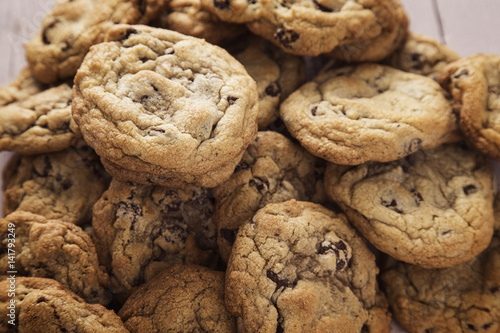 Tuinposter Koekjes Fresh Batch of Homemade Chocolate Chip Cookies