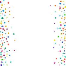Dense Watercolor Confetti On White Background. Rainbow Colored Watercolor Confetti Messy Border. Colorful Hand Painted Illustration.
