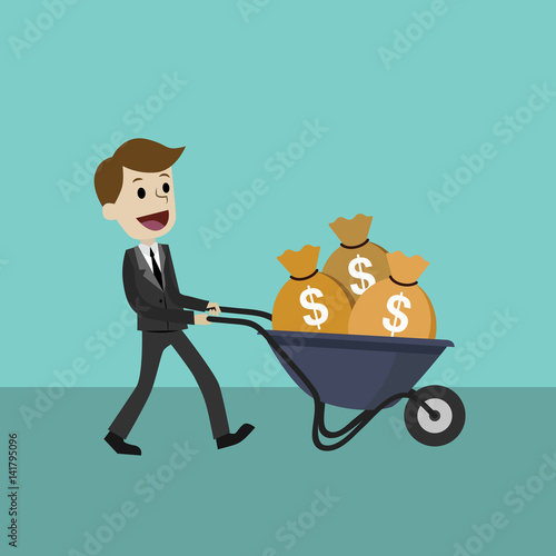 Fotografía  Happy businessman or manager goes with a wheelbarrow full of cash