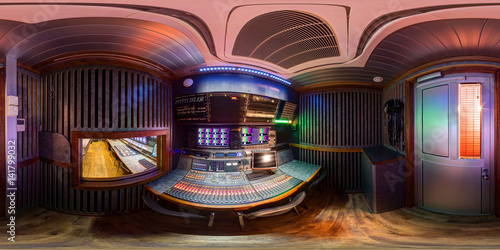 Photo 360 panorama of ob van in equirectangular spherical equidistant projection sound