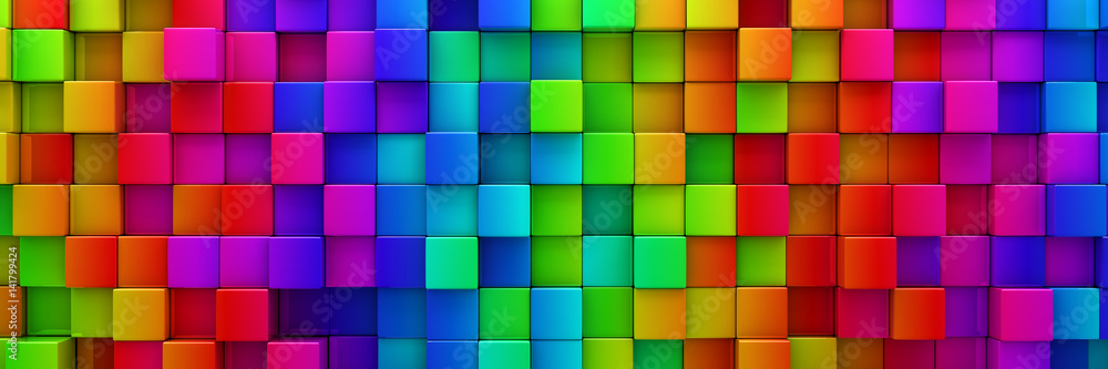 Fototapeta Rainbow of colorful blocks abstract background - 3d render