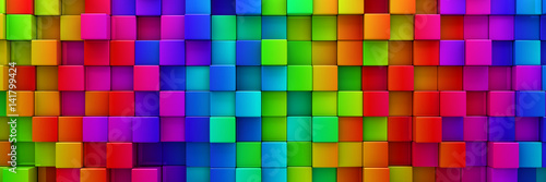 Fototapeta Rainbow of colorful blocks abstract background - 3d render obraz