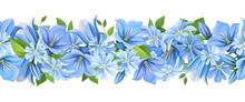 Vector Horizontal Seamless Border With Blue Flowers.