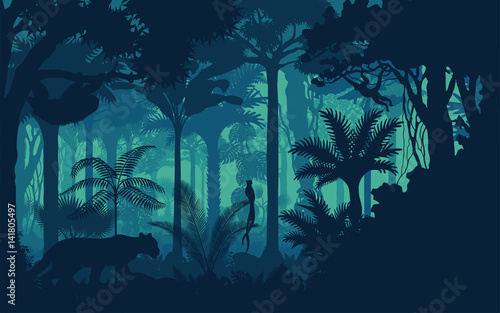 Fotomural Vector evening tropical rainforest Jungle background with jaguar, sloth, monkey