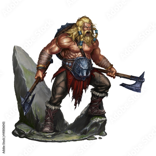Photo viking berserker on white on stone