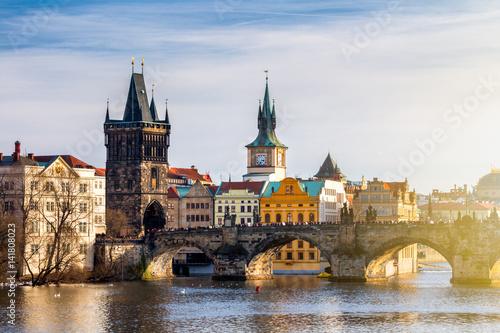 Tela View of Charles Bridge (Karluv most) and Old Town Bridge Tower, Prague, Czechia