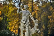 A Statue Of The Mythological Huntress Diana.